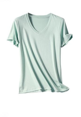 Twenty Eight Shoes green VANSA V-neck Mercerized Cotton Short-sleeved T-Shirt VCW-Ts1902V E3F16AA34888C2GS_1