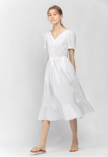 TAV 白色 褶皺V領連衣裙 - 白色 01980AAFDC031AGS_1
