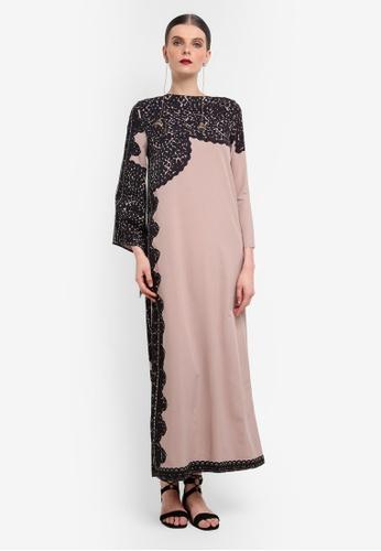 Rizalman for Zalora beige Rawal Maxi Dress Wide Sleeve RI909AA0SEZDMY_1