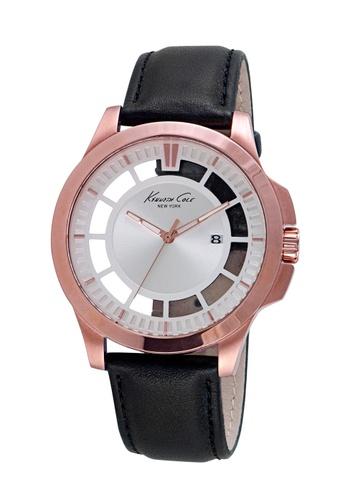 Kenneth Cole black Kenneth Cole Men's Watch - Transparent Black/Rose Gold Leather Strap KE854AC48JJFSG_1