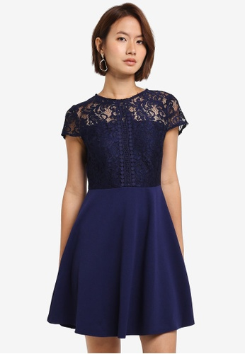 Dorothy Perkins navy Petite Skater Fit And Flare Dress 3A2BFAA919D5D8GS_1