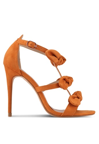 Velvet orange Bow Strappy Heels AABE1SHE8EC3E6GS_1