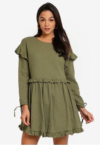 INDIKAH green Long Sleeve Ruffle Trim Babydoll Dress 5F7CFAA5D1A03FGS_1
