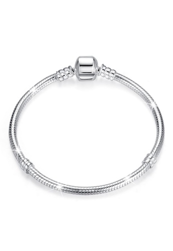 925 Signature 925 SIGNATURE Solid 925 Sterling Silver Pandora Inspired Barrel Clasp Snake Chain Bracelet 432D5AC3F9E3FEGS_1