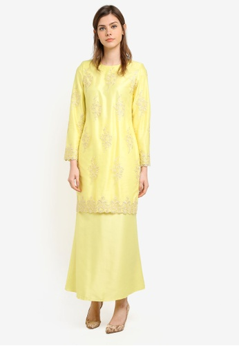 Gene Martino yellow Fairy Kurung With Exclusive Glitered Embroidery Blossom Lace GE222AA0S76CMY_1