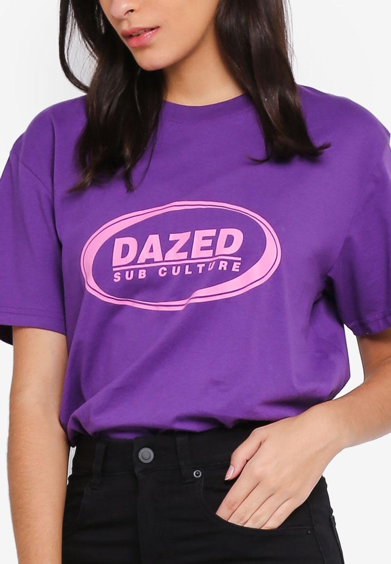 Classic New Factorie Sleeve Purple Short Pink Fuchsia Graphic Tee anEqgq