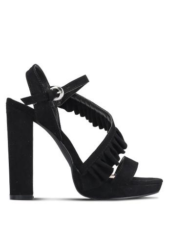 ZALORA 黑色 摺邊帶 高跟鞋 10461ZZ44606F6GS_1