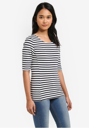 Jack Wills navy Brenna Short Sleeve Stripe Top 26BBEAADDD3872GS_1