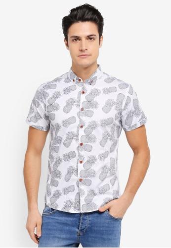 JAXON white and multi Pineapple Short Sleeves Shirt 6EABEAA263C72DGS_1