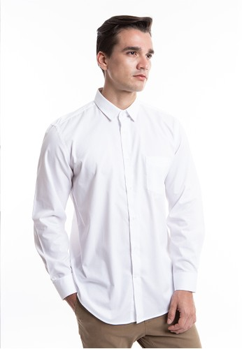 MANLY white MANLY Leonel White Regular Fit Striped Shirt Long Sleeve Plain 465ACAA1850343GS_1