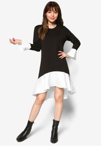 色塊不對稱荷葉飾洋裝, 服飾, 洋esprit 請人裝