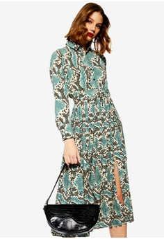 2c00a3a55248 TOPSHOP blue and multi Python Pleated Shirt Dress AC881AAEE59623GS 1