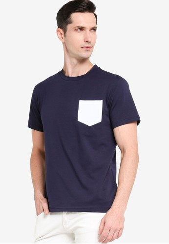ZALORA BASICS navy Regular Fit Contrast Pocket T-shirt 38613AA449A9E3GS_1