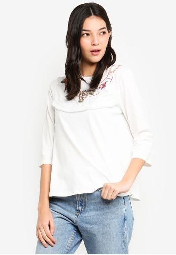 ESPRIT 白色 短袖刺繡上衣 EBF59AA3232F17GS_1
