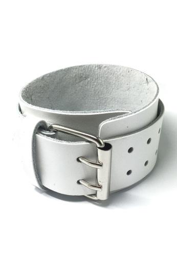 Splice Cufflinks white Gladiator Series White Real Leather Punk Bracelet SP744AC53XFMSG_1