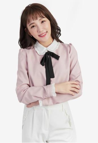 YOCO pink Ribbon Frill Collar Blouse E44A7AA42883A9GS_1