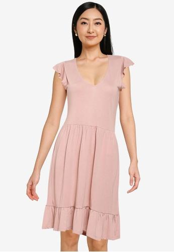 JACQUELINE DE YONG 粉紅色 短袖V領洋裝 67645AA62FC709GS_1