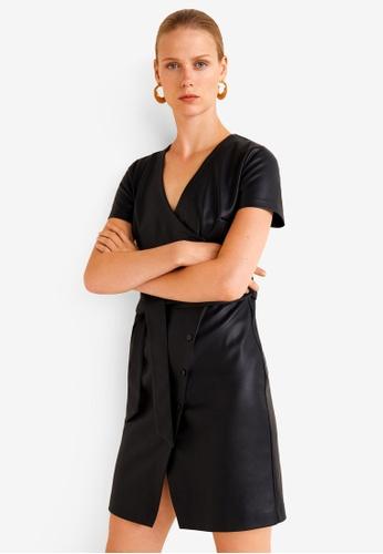 Mango black Bow Wrap Dress D375DAA5E17C4FGS_1