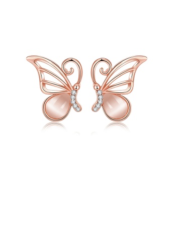 Glamorousky white Elegant Plated Rose Gold Butterfly Earrings with Opal and Austrian Element Crystal F10DDAC6B1630EGS_1