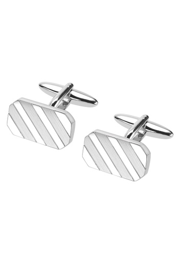 CUFF IT silver Shiny and Brush Silver Repp Stripes Cufflinks 3CDBBAC19137DAGS_1