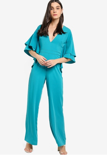 Lavish Alice blue Exaggerated Double Frill Sleeve Wide Leg Jumpsuit BBE79AA59DF2FBGS_1
