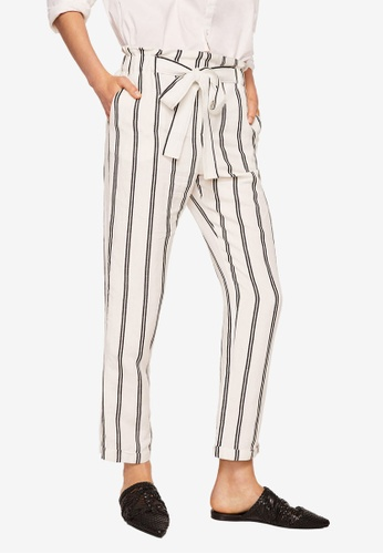 MANGO white Striped Linen-Blend Trousers 3CAA4AAF1C140EGS_1
