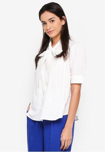 Vero Moda white Nicole 2/4 Tie Shirt 59B4BAA3E4F31AGS_1
