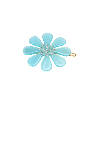 Glamorousky white Fashion and Simple Light Blue Flower Hair Clip with Cubic Zirconia 5001DACE6E10B3GS_1