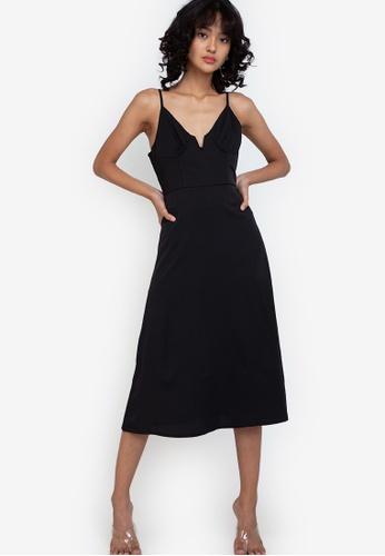 ZALORA BASICS black Sweetheart Cut Out Midi Dress E07E5AABB52D8CGS_1
