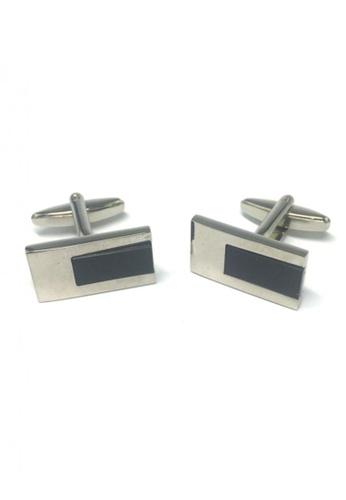 Splice Cufflinks black and silver Black Rectangular Insert Rectangle Cufflinks SP744AC60FRJSG_1