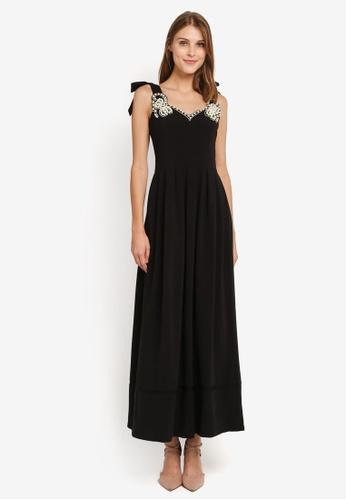 Megane black Red Romance Marguerite Pearl Embellished Long Dress ME617AA0SL9RMY_1