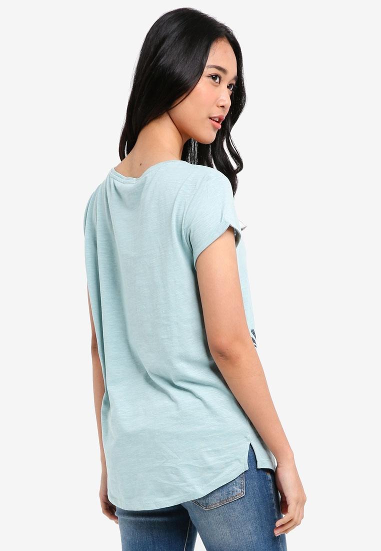 T Sleeve ESPRIT Shirt Green Dusty Short SOnqZ