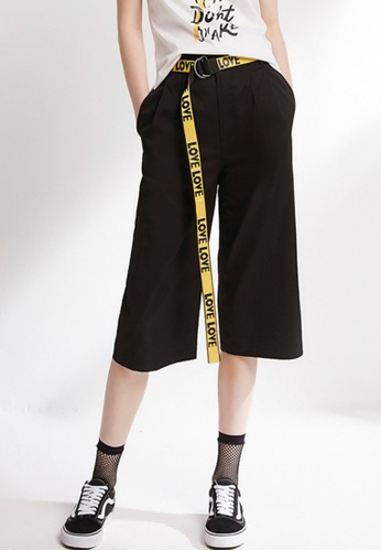 """Hopeshow black Knee Length Baggy Pants with """"Love"""" Belt 97309AAC1AF24AGS_1"""