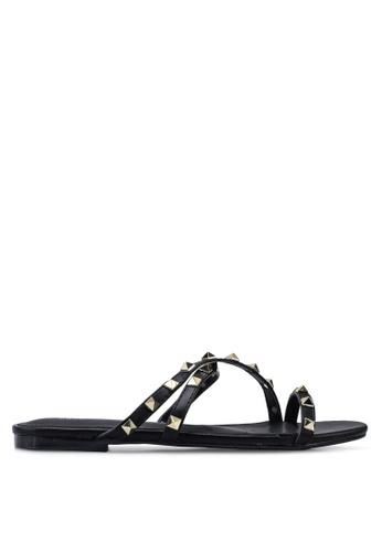 nose 黑色 Studded Flat Slides C05E2SH46C311FGS_1