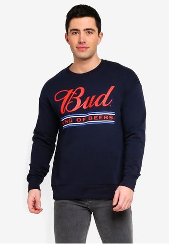 Jack & Jones navy Jorbuds Printed Sweatshirt 79E3FAA0922B9CGS_1