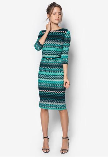 esprit outlet 台中印花腰帶貼身連身裙, 服飾, 服飾