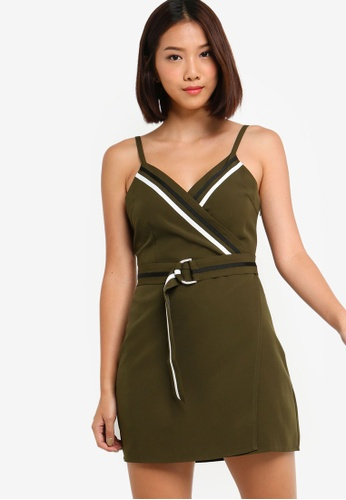 Something Borrowed 綠色 Contrast Trim Wrap Cami Dress 15385AA543E498GS_1