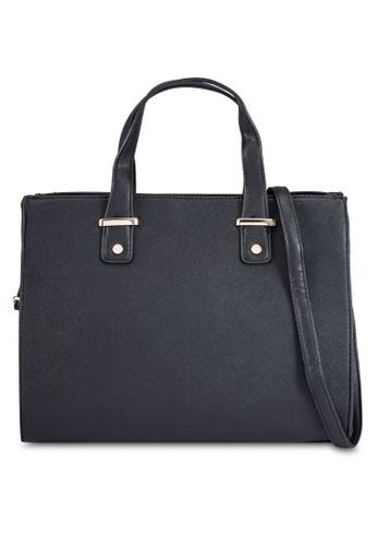 ZALORA black Medium Size Structured Top Handle Bag 7AEEFZZ7FA9784GS_1