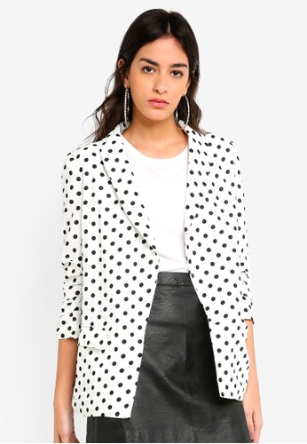 MISSGUIDED white Polka Dot Gathered Sleeve Blazer E449EAA10E0786GS_1