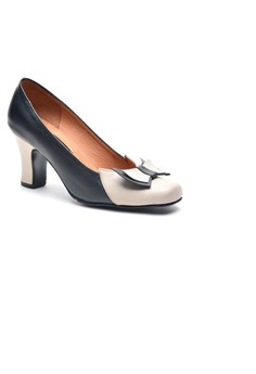 Cristy Genuine Leather Closed-toe Two-toned Heels