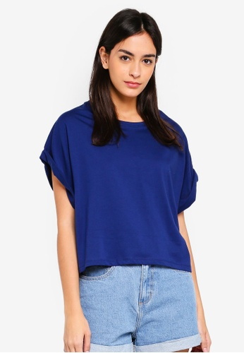 UniqTee navy Solid Colour Cropped T-Shirt 9BA8BAACE10372GS_1