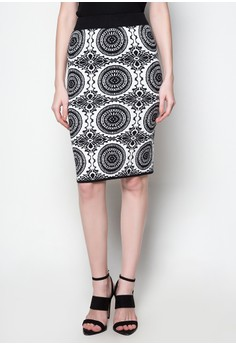 Midi Knitted Skirt Circle Printed Design
