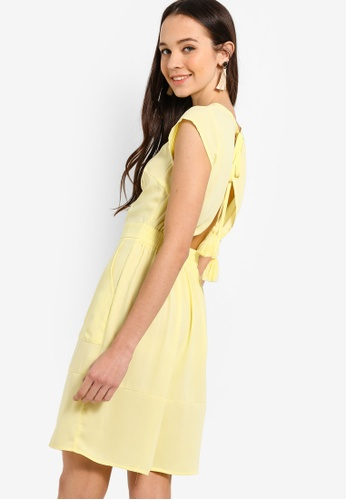 Something Borrowed yellow Cap Sleeves Fit And Flare Dress F3710AA25095CCGS_1