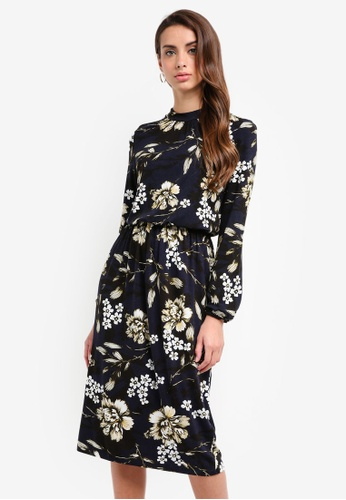 Vero Moda blue and navy Floral Midi Dress 96BEAAA09A0748GS_1