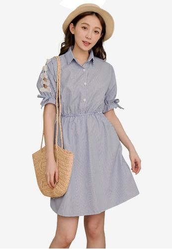 Eyescream blue Bow Sides Stripe Shirt Dress B3651AA9FA4BEBGS_1