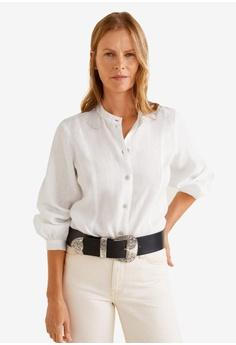 91472fa1035 Mango white Button Linen-Blend Blouse A9A7AAABC3AF36GS_1