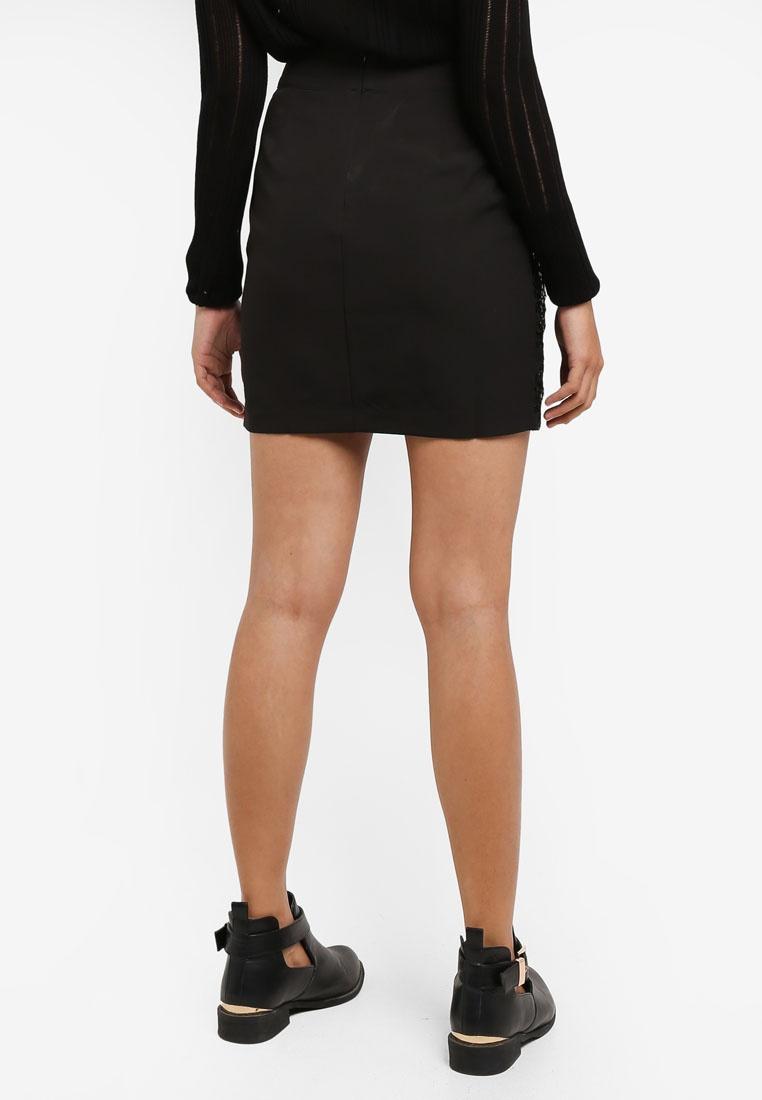 Black Borrowed Mini Skirt Embellished Something T0wzxqHwF