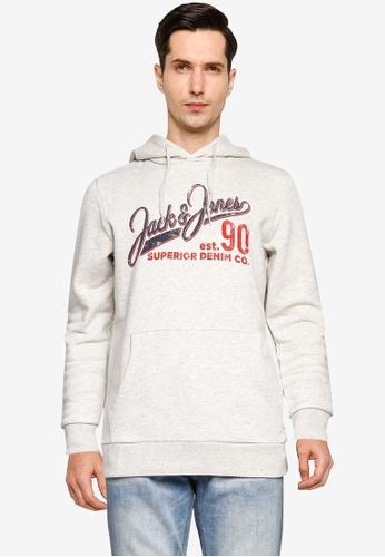 Jack & Jones white Logo Sweat Hoodie DB5D0AA2DA4170GS_1