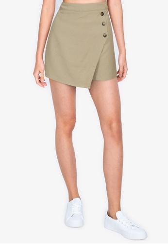 ZALORA BASICS beige Wrapover Shorts with Buttons E6EDFAA50264B7GS_1