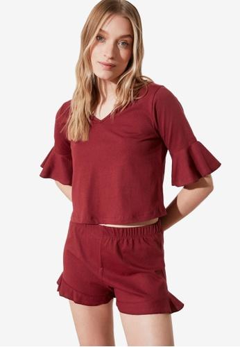 Trendyol 紅色 荷葉 睡衣組 8C074AA20F6E5BGS_1